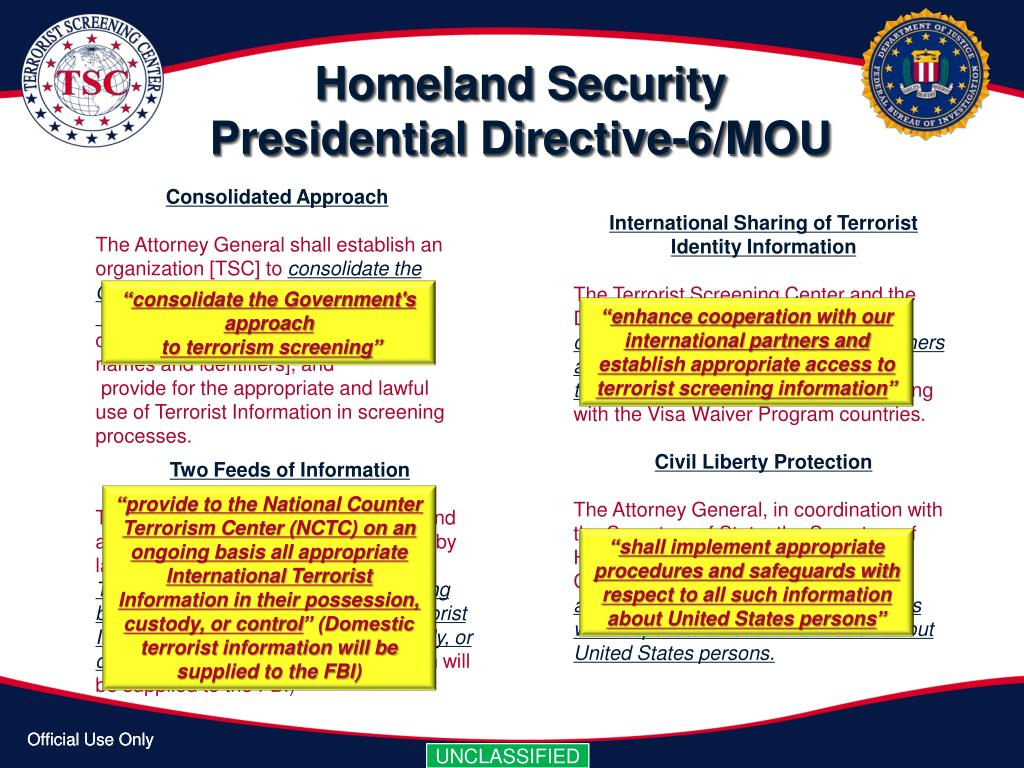 Homeland Security Presidential Directive-6/MOU