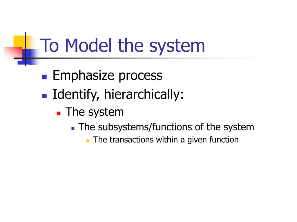 To Model the system