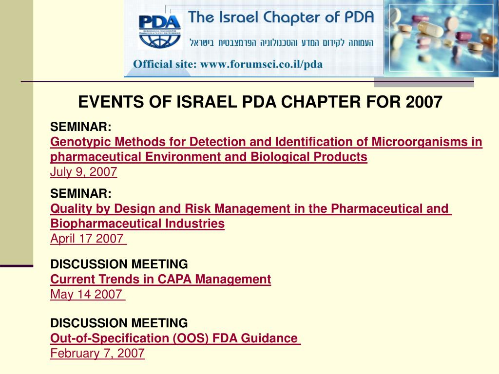 EVENTS OF ISRAEL PDA CHAPTER FOR 2007