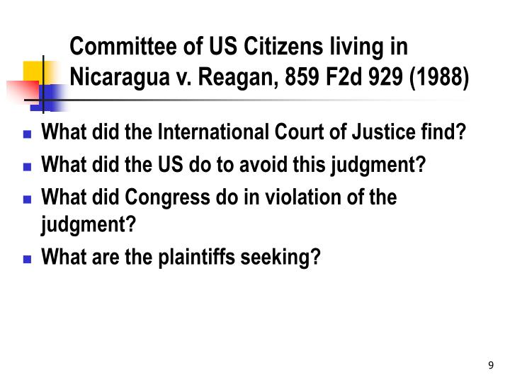 Committee of US Citizens living in Nicaragua v. Reagan, 859 F2d 929 (1988)