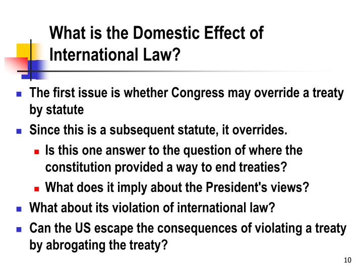 What is the Domestic Effect of International Law?