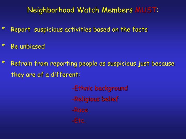 Neighborhood Watch Members