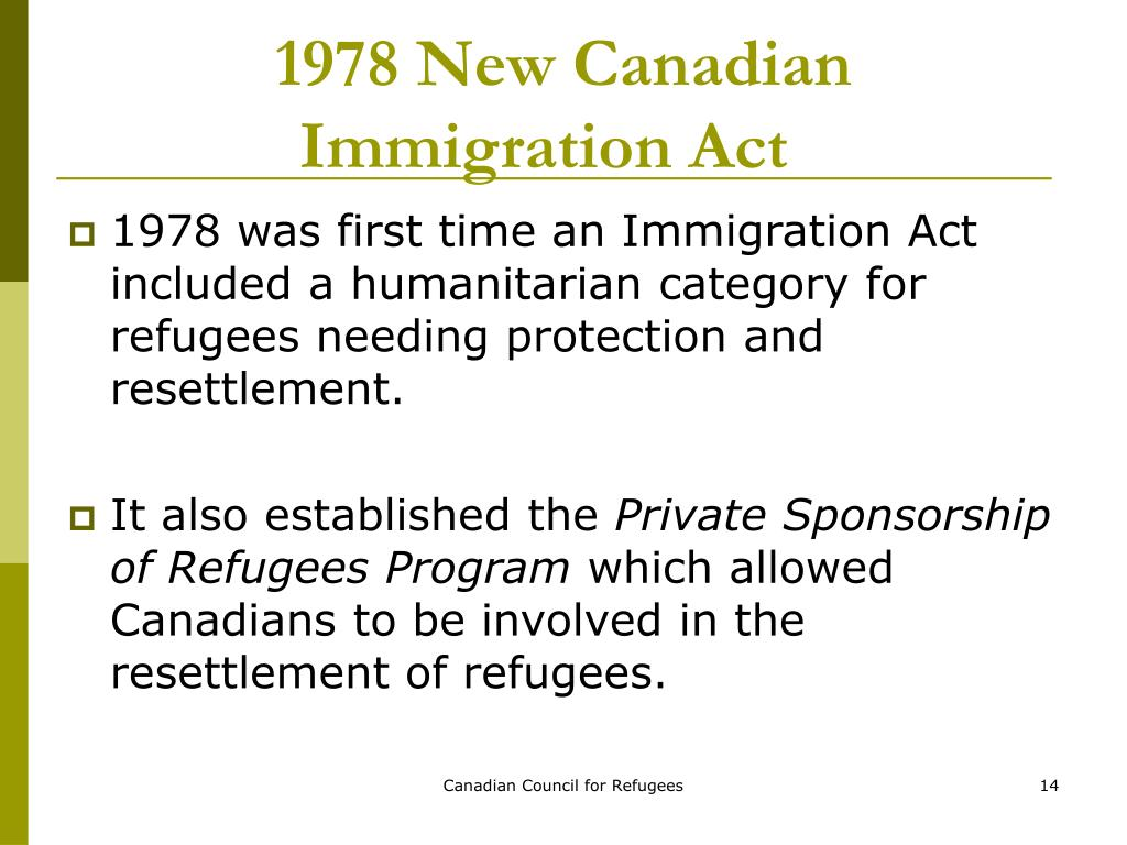 the introduction of canadian immigration act