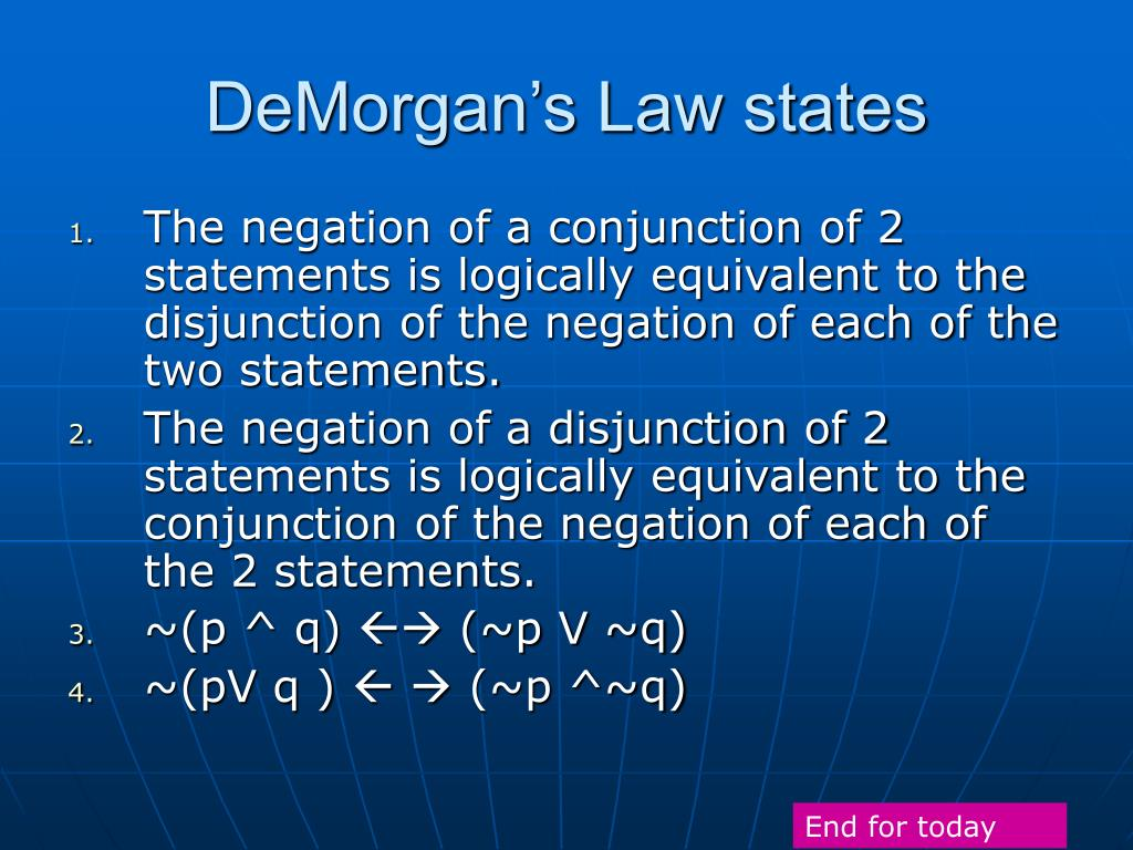 DeMorgan's Law states