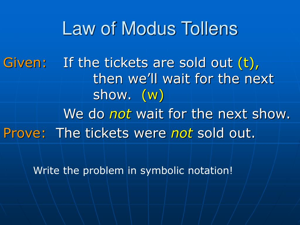 Law of Modus Tollens