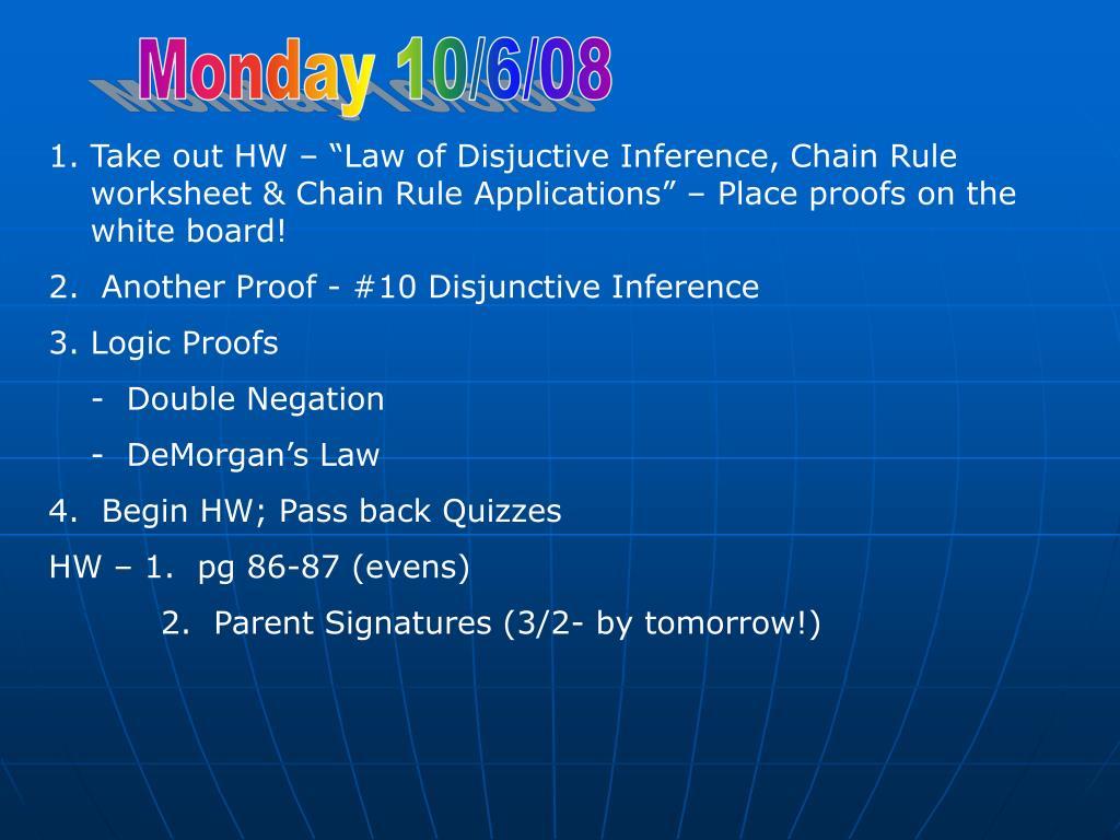 Monday 10/6/08