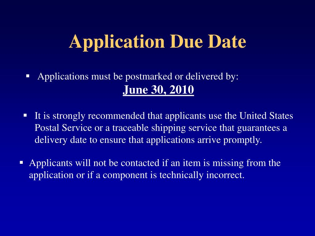 Application Due Date