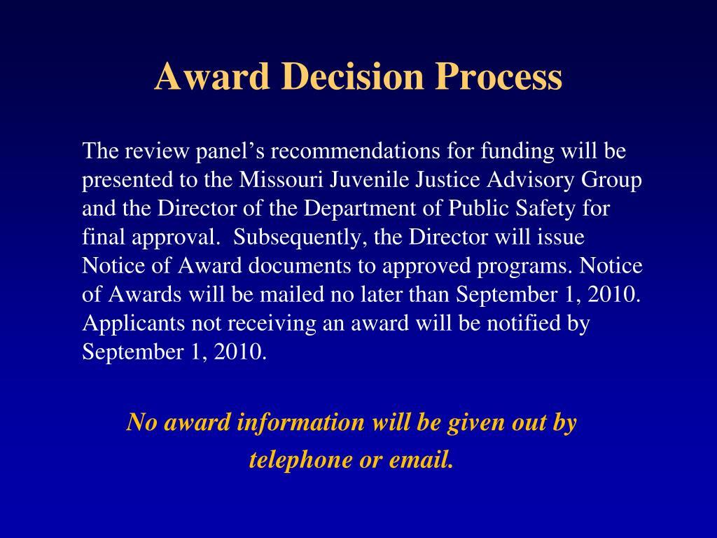 Award Decision Process