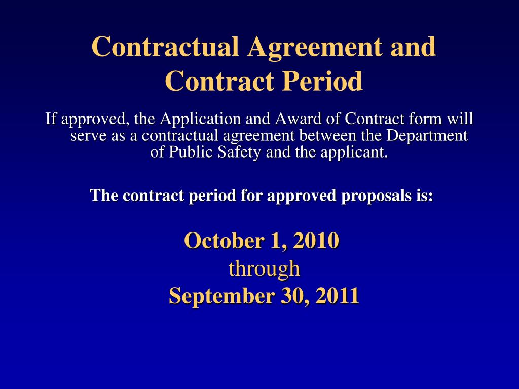 Contractual Agreement and Contract Period
