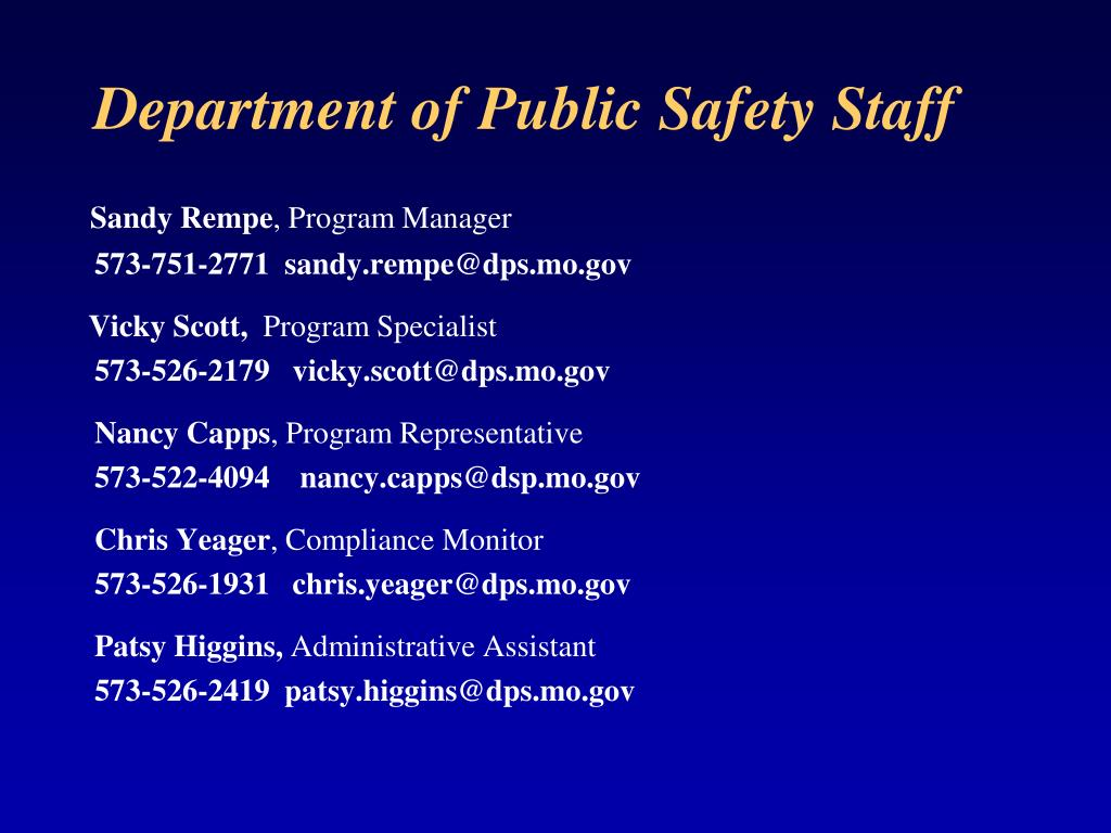 Department of Public Safety Staff