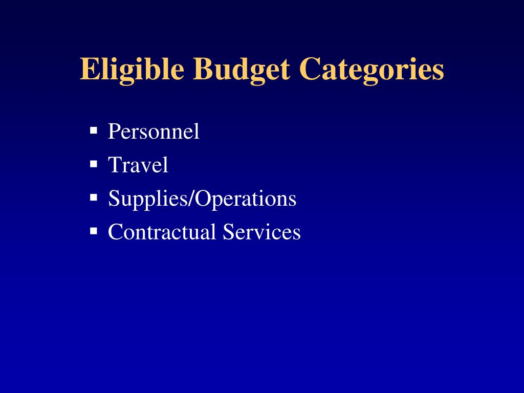 Eligible Budget Categories