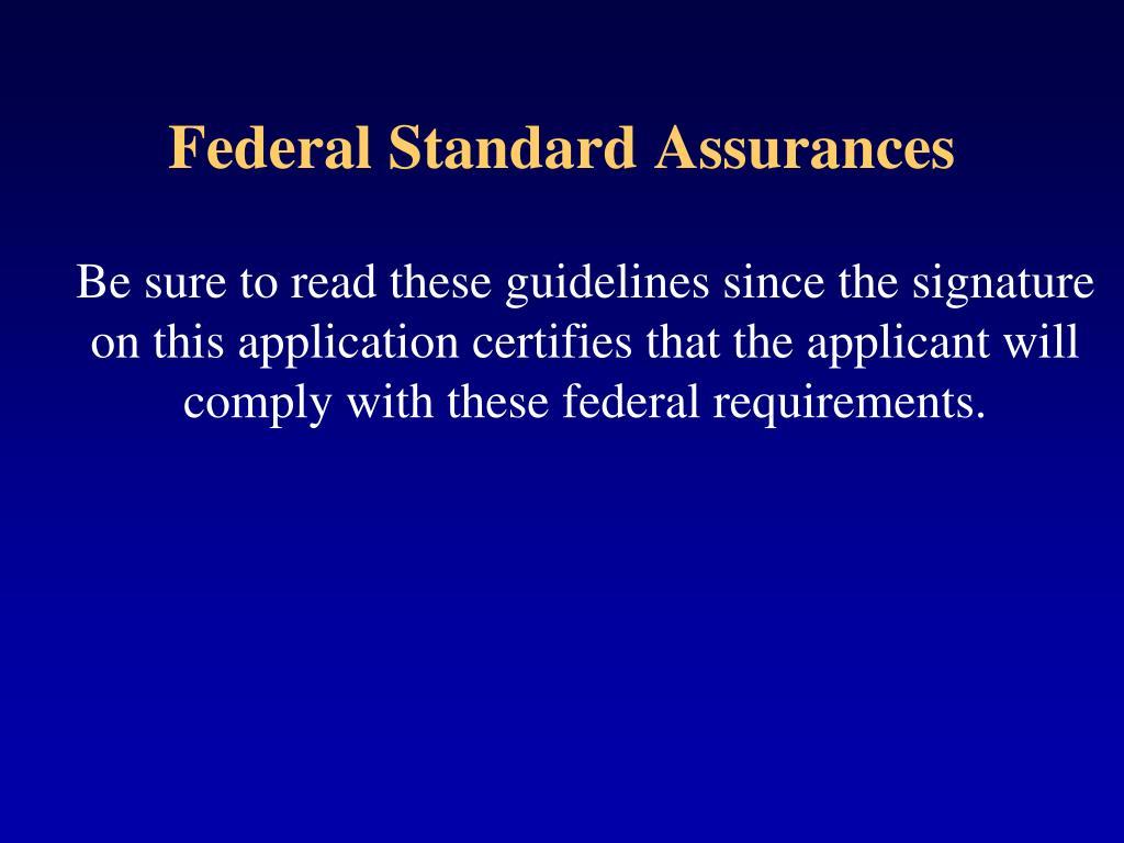 Federal Standard Assurances