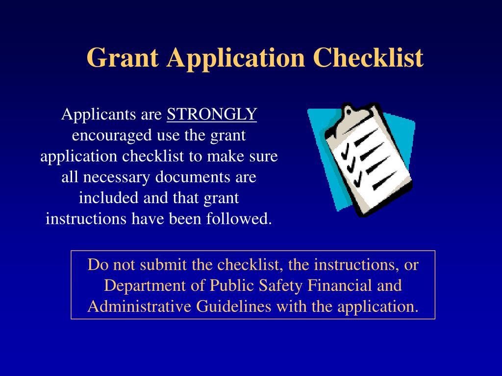 Grant Application Checklist