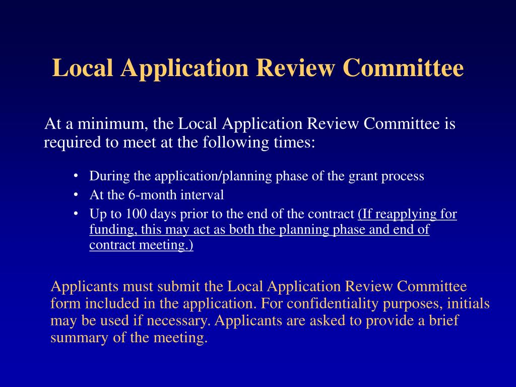 Local Application Review Committee