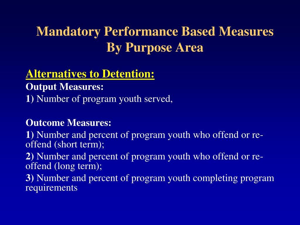 Mandatory Performance Based Measures