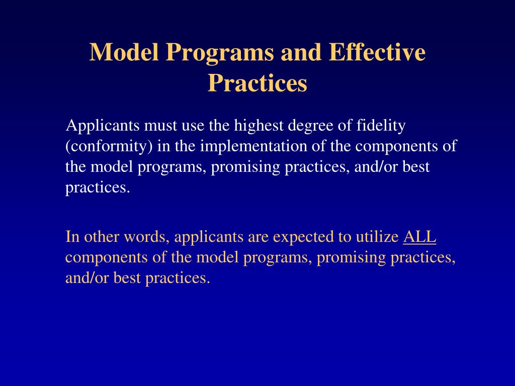 Model Programs and Effective Practices