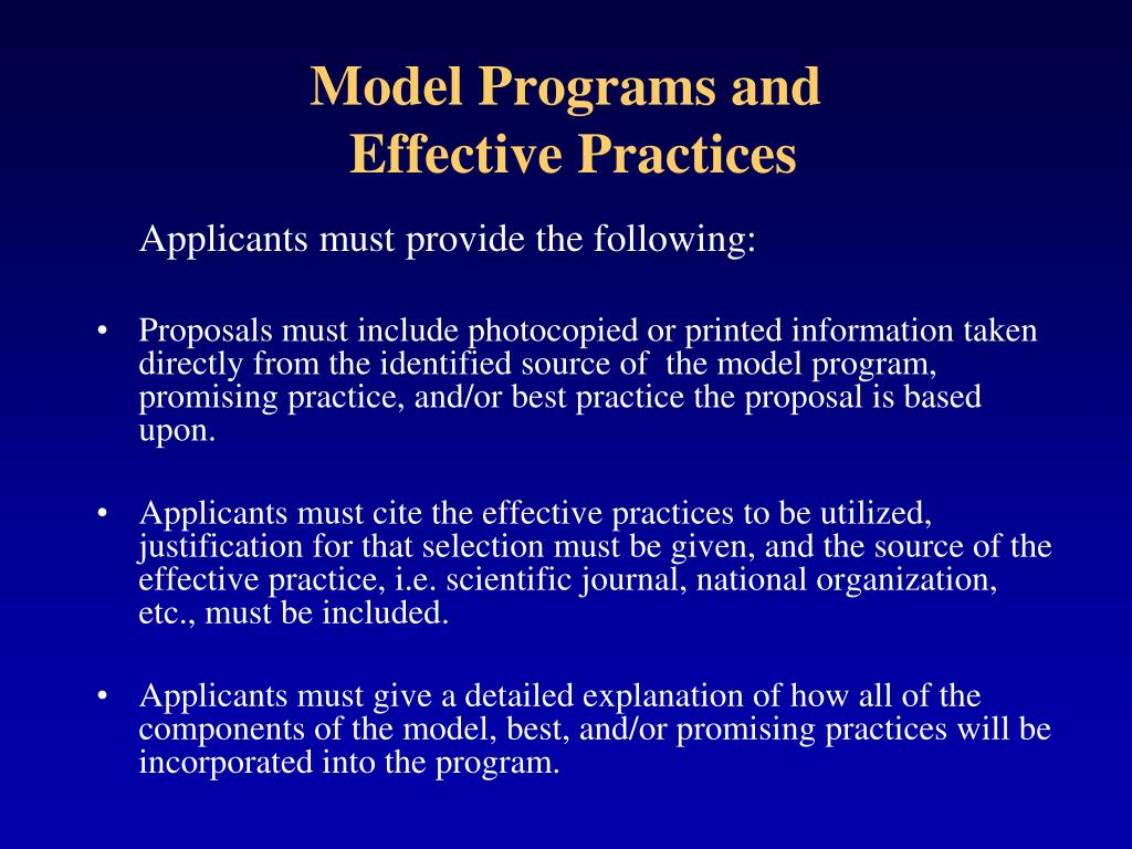 Model Programs and