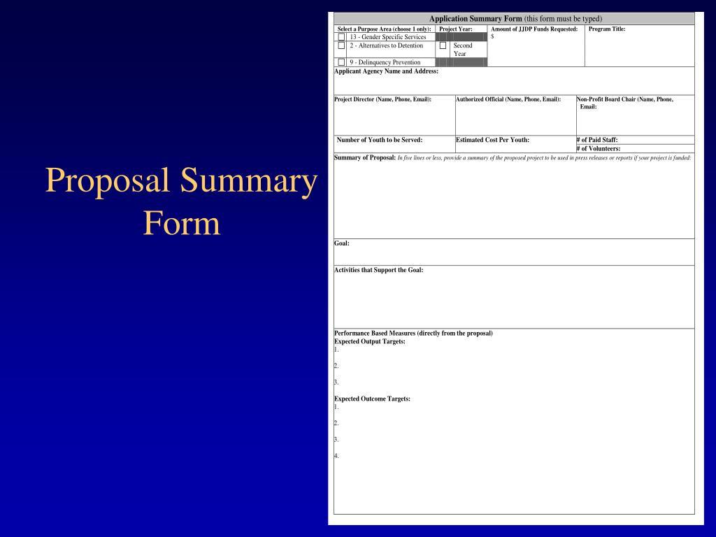 Proposal Summary Form