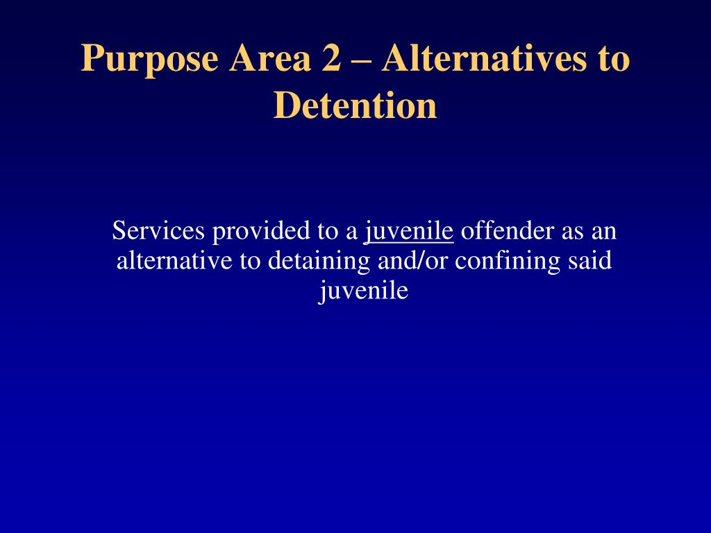 Purpose Area 2 – Alternatives to Detention