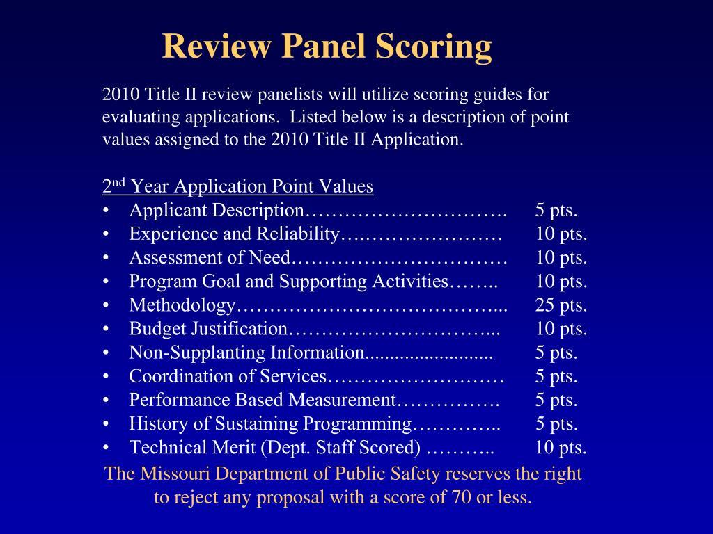 Review Panel Scoring