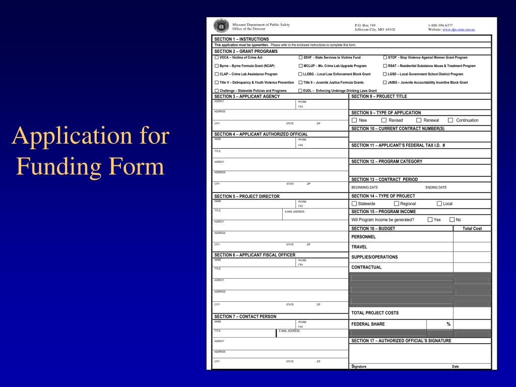 Application for Funding Form