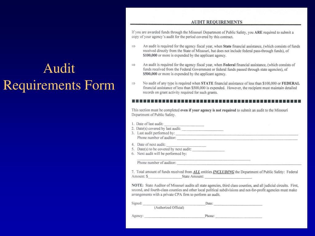 Audit Requirements Form