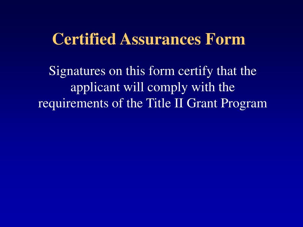 Certified Assurances Form