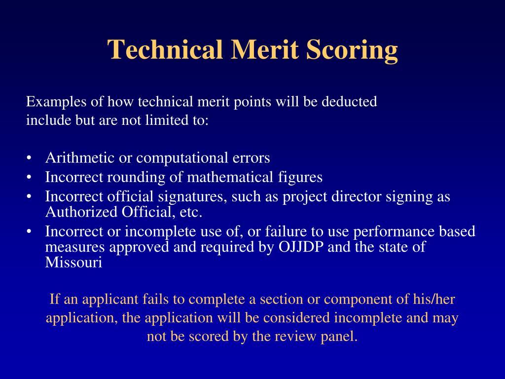 Technical Merit Scoring