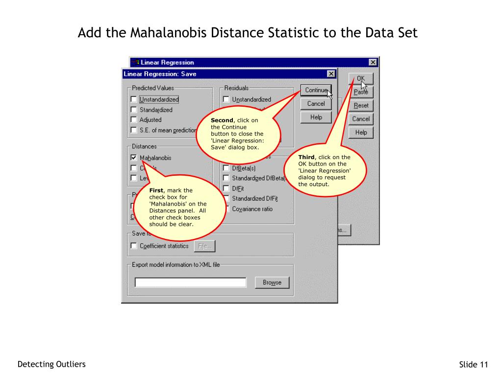 Add the Mahalanobis Distance Statistic to the Data Set