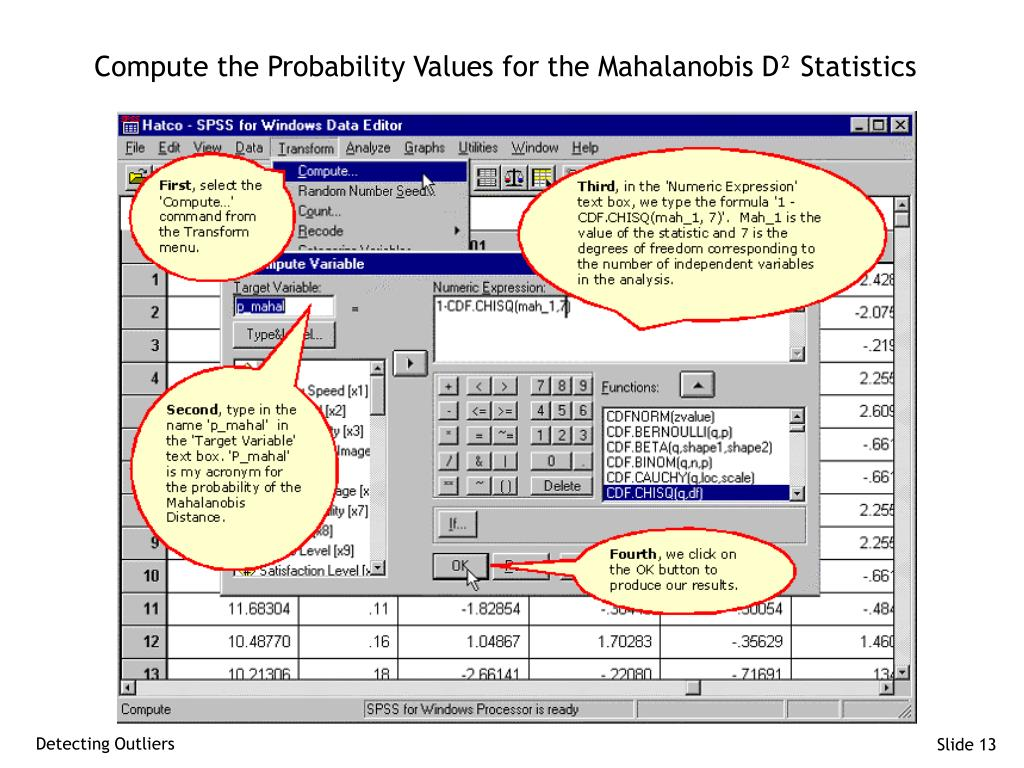 Compute the Probability Values for the Mahalanobis D² Statistics