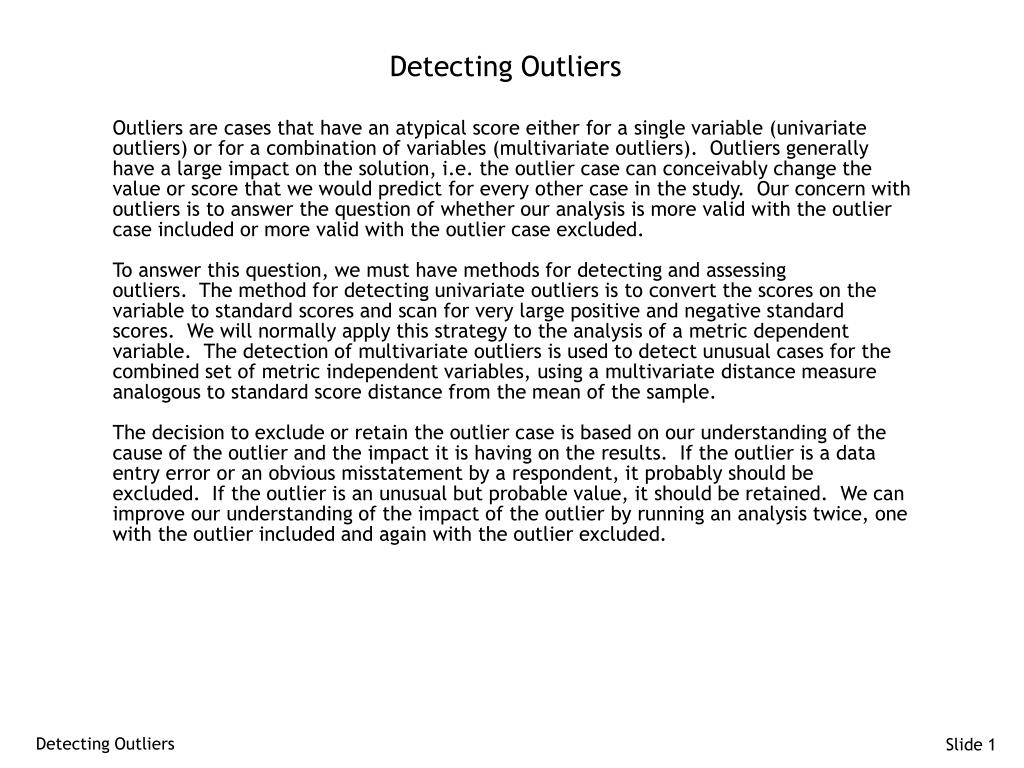 Detecting Outliers