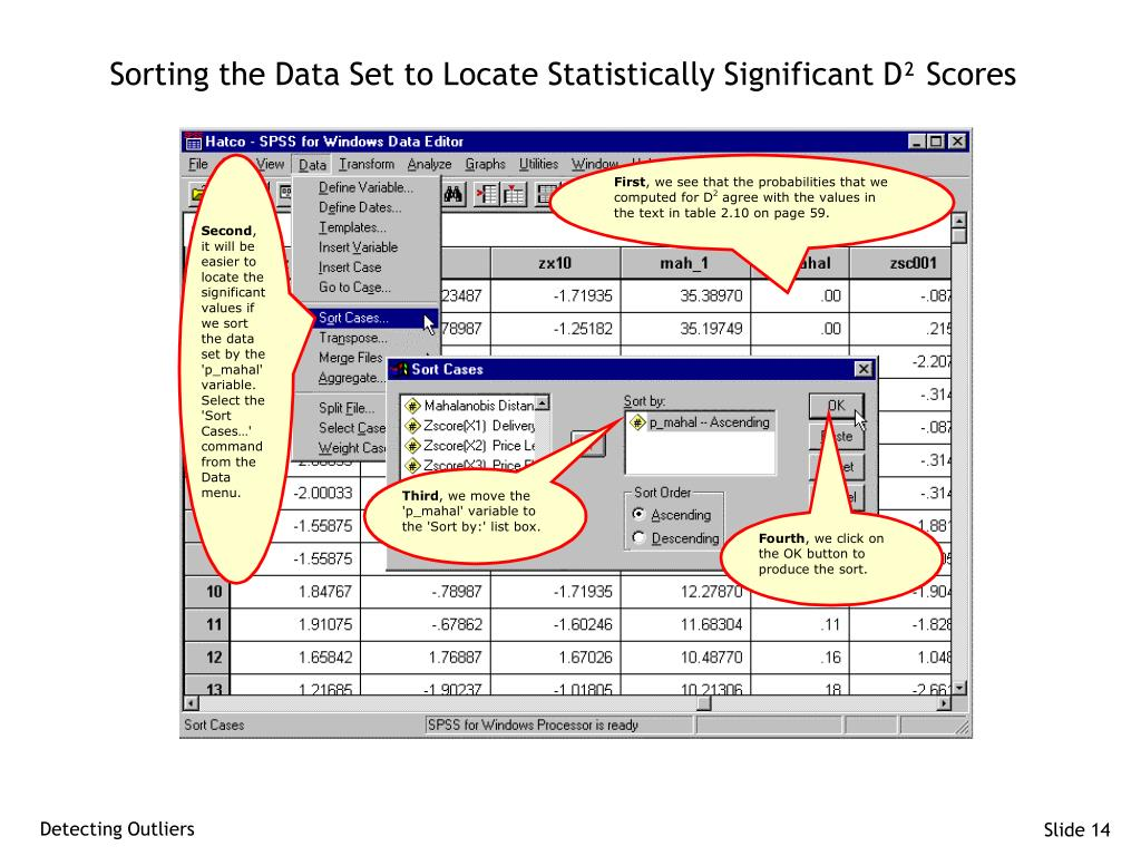 Sorting the Data Set to Locate Statistically Significant D² Scores