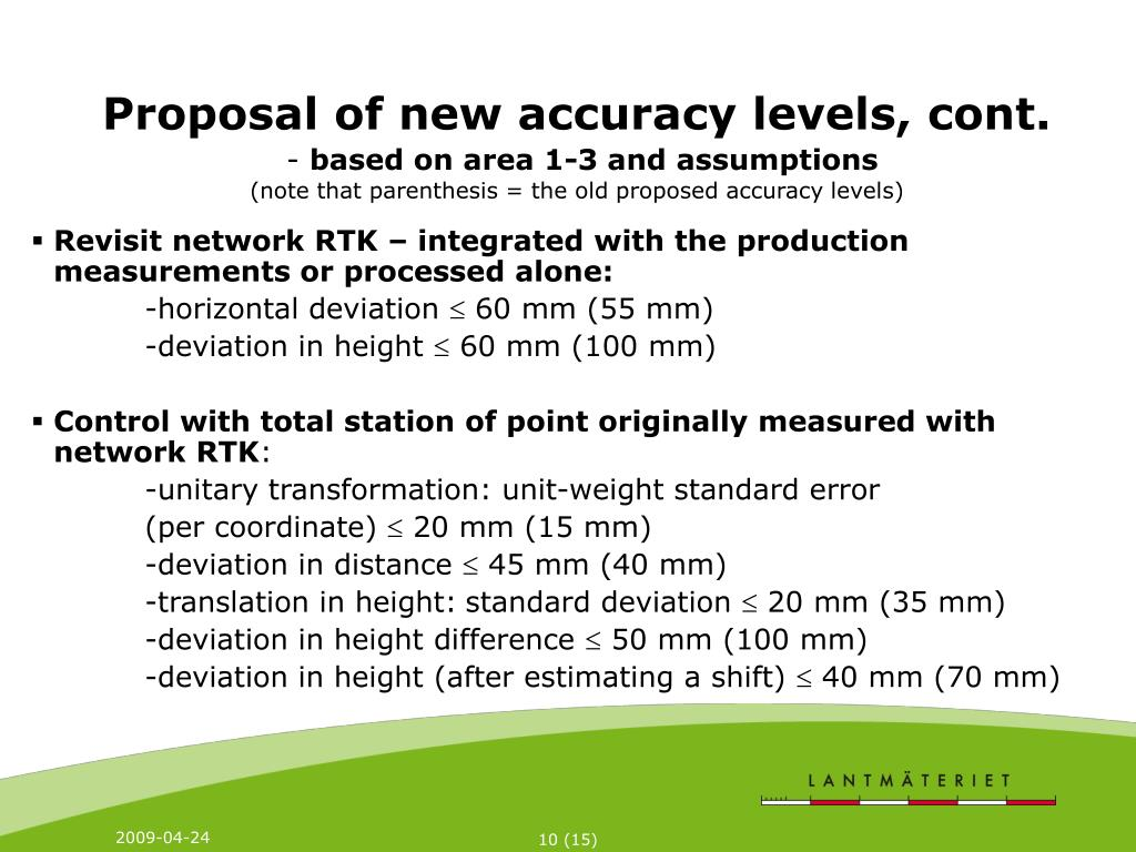 Proposal of new accuracy levels, cont.
