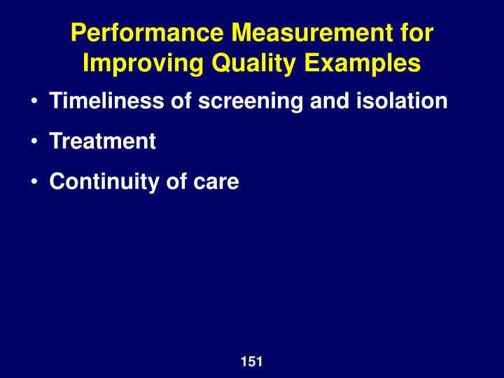 Performance Measurement for Improving Quality Examples