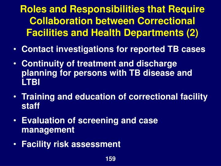 Roles and Responsibilities that Require Collaboration between Correctional Facilities and Health Departments (2)