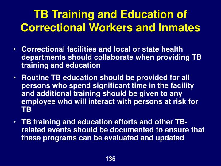 TB Training and Education of Correctional Workers and Inmates