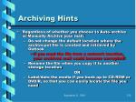 archiving hints