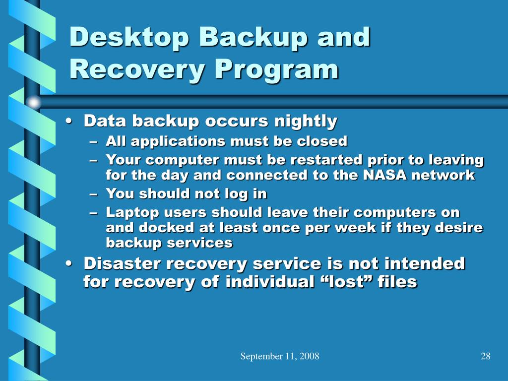 Desktop Backup and Recovery Program