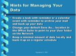 hints for managing your data