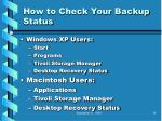 how to check your backup status