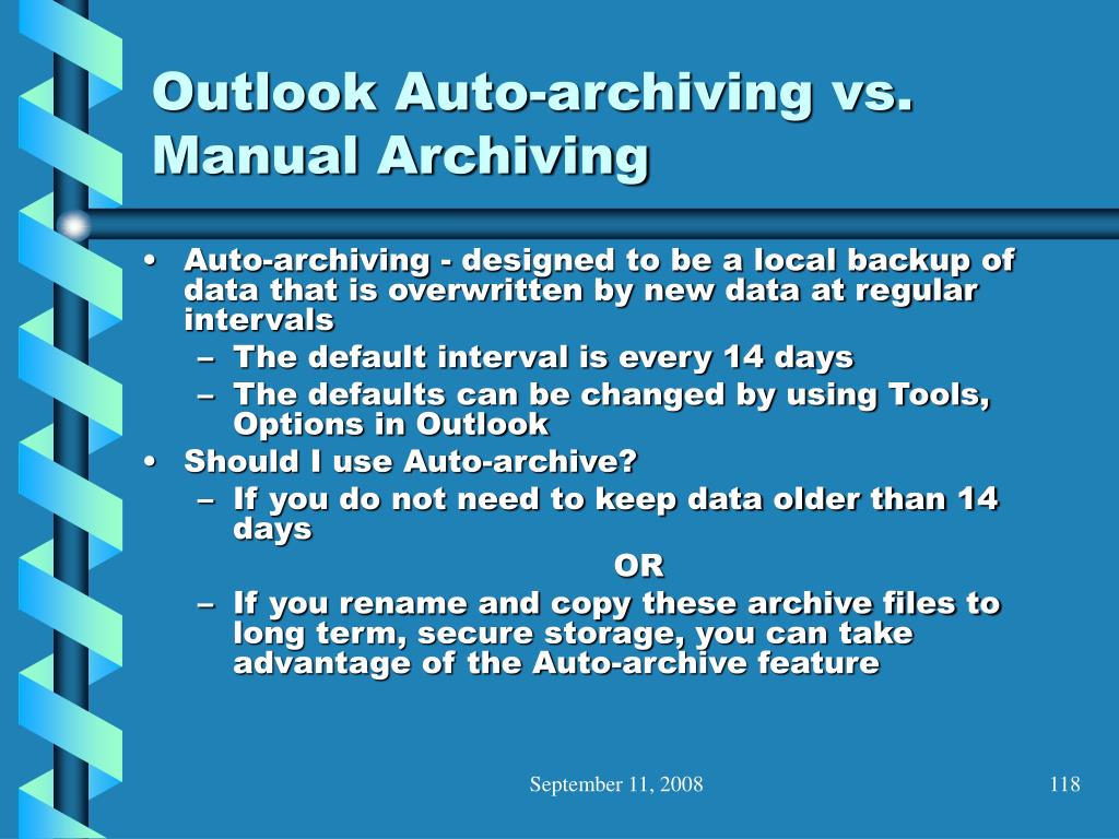 Outlook Auto-archiving vs. Manual Archiving