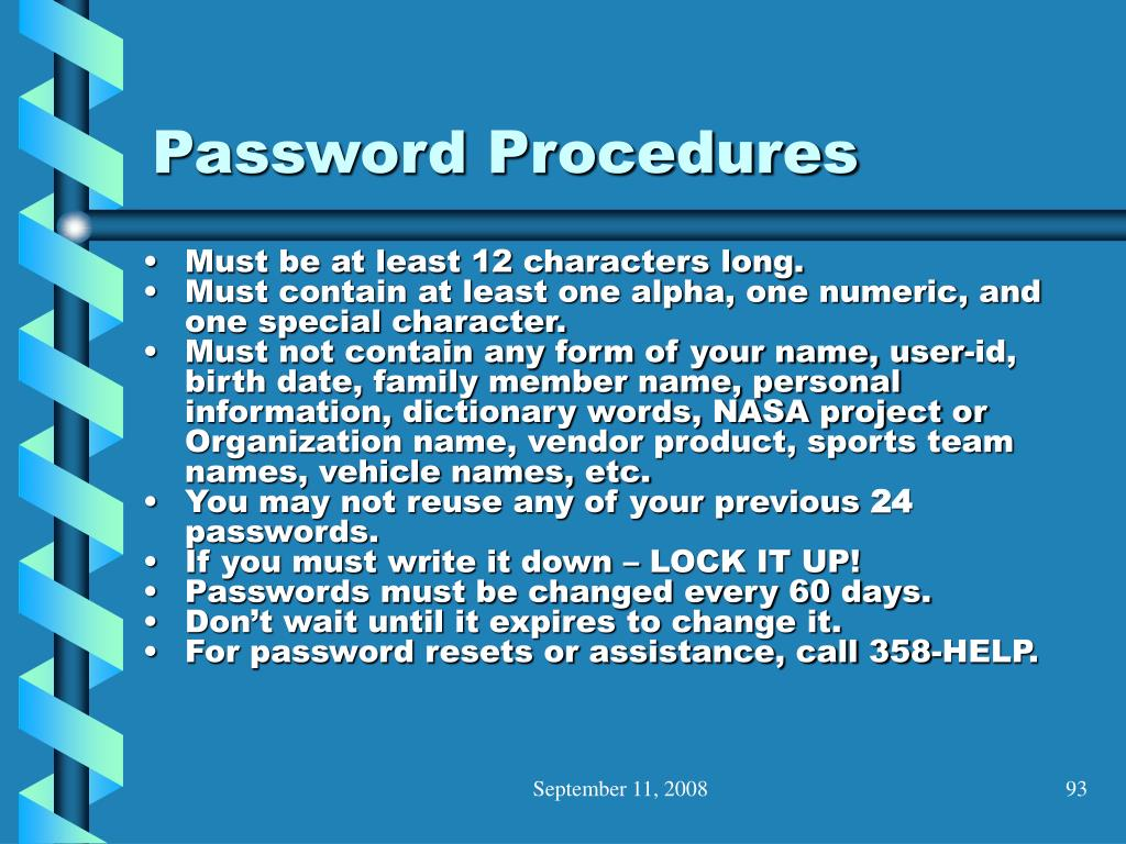 Password Procedures