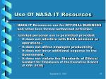 use of nasa it resources