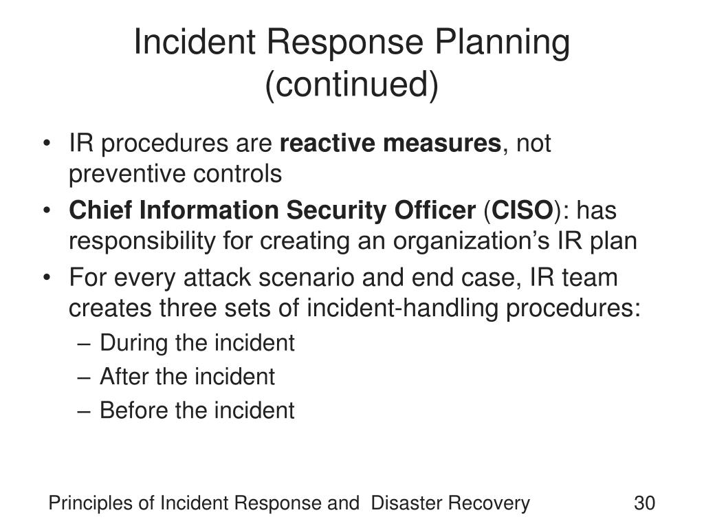 disaster recovery incident response and security Cism domain – incident management and recovery cism domain – incident management and recovery integrate information security incident response plans with.