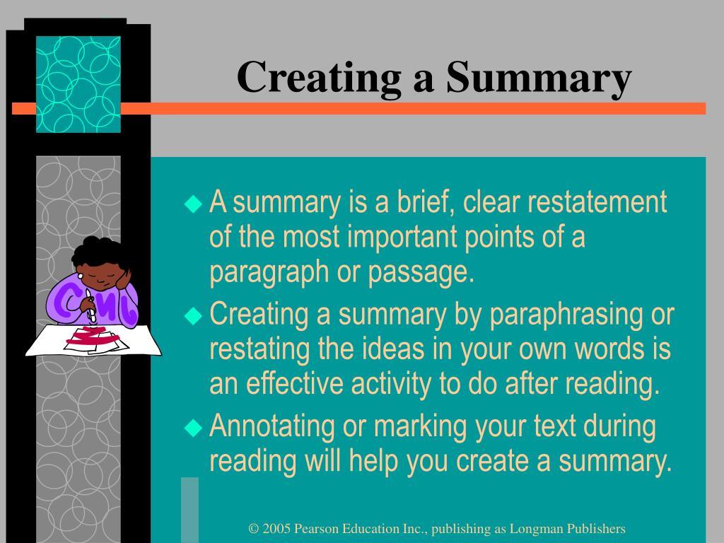 Creating a Summary