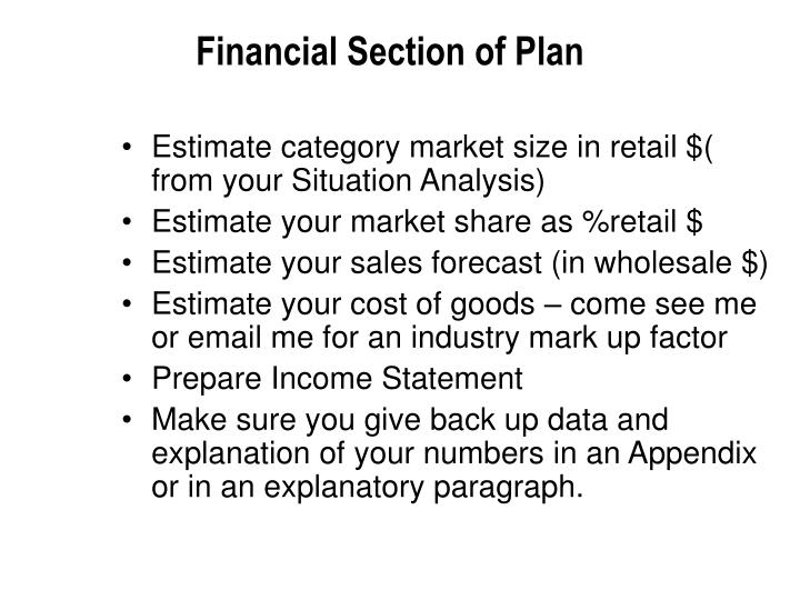 Financial Section of Plan