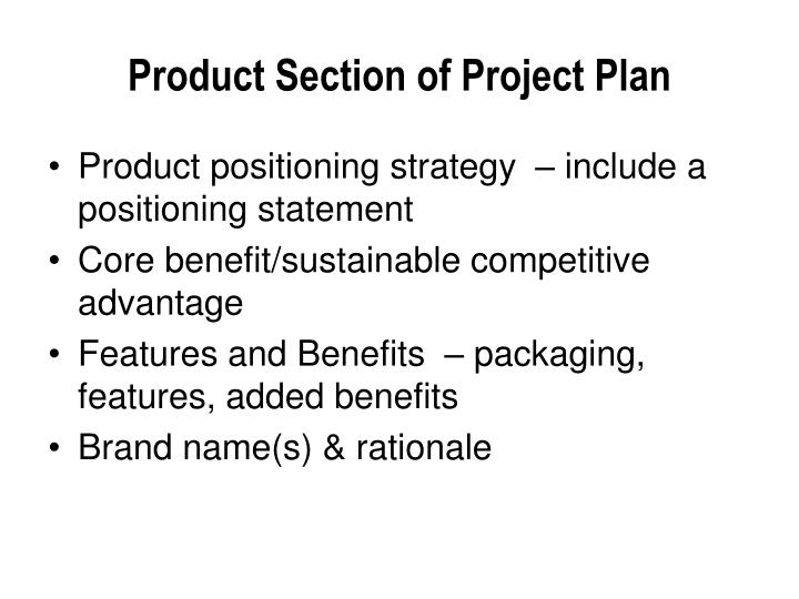 Product Section of Project Plan