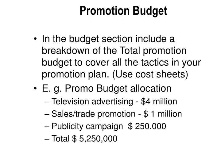 Promotion Budget