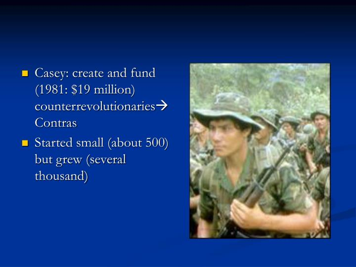Casey: create and fund (1981: $19 million) counterrevolutionaries