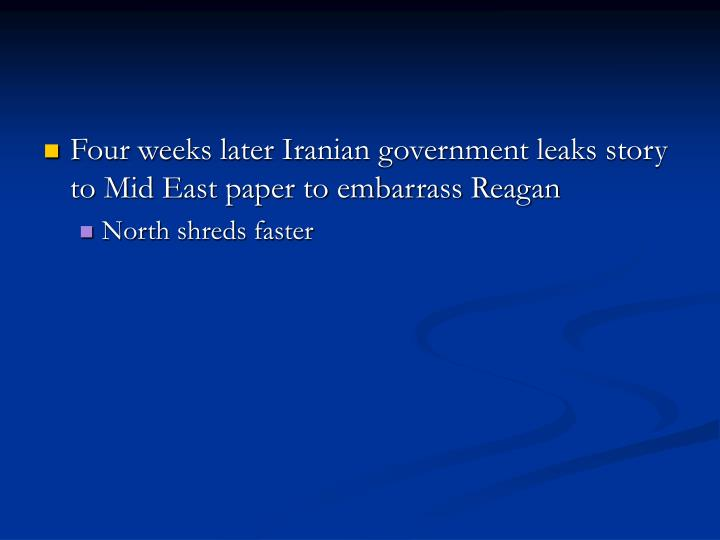 Four weeks later Iranian government leaks story to Mid East paper to embarrass Reagan